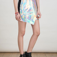 Contrast Back Hologram Wrap Asymmetric Skirt