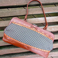 Genuine Leather JAMIN PUECH Handbag, Made in France, Checkered Fabric, Vintage
