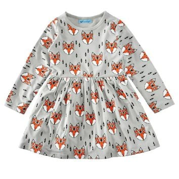 2017 Spring Autumn Baby Girls Dresses Girls Baby Dress Cartoon Animal Toddler Casual Dress For Girl Clothes