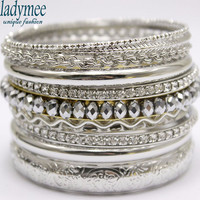 Bracelet Bangles Pulseiras Silver Plated Bracelets for Women Trendy Luxury Metal Bracelet Bangle Set Indian Jewelry
