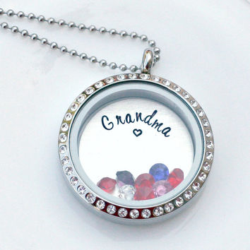 Grandma Necklace - Hand Stamped Locket - Rhinestone Locket - Love Locket - Floating Charm Locket