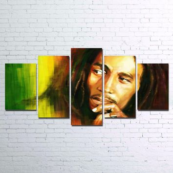 HD Printed Canvas Painting for Living Room Wall Art 5 Pieces Canvas Art Water Colorful BOB MARLEY Art Unframed