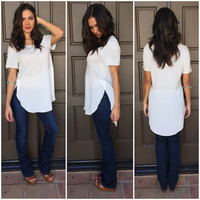 Two Faced Stripe Blouse Tee - White