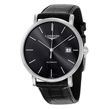 Longines Elegant Black Dial Alligator Leather Automatic Mens Watch L49104722