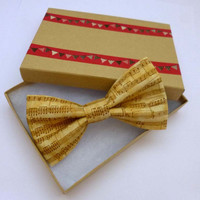 Musical Notes Clip On Bow Tie, Womens Bow Tie, Mens Bow Tie, Ready to Gift , Cream Clip On Bow Tie with Symphony Design