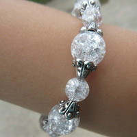 Crackle Glass Bracelet with Silver Accent Beads