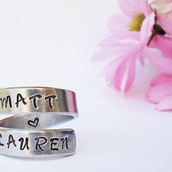 Personalized Name Ring   Personalized Ring   Custom Ring   Handstamped Ring   Name Ring   Mothers Ring   Adjustable Ring   Girlfriend Gift