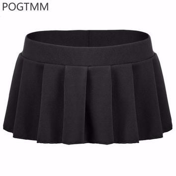 DCCKDZ2 POGTMM 2017 Sexy Micro Mini Skirts Women Summer Short Pleated Skirt Erotica Female Bottoms XXL Pink White Black Green Blue L3