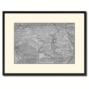 Maryland Vintage B&W Map Canvas Print, Picture Frame Home Decor Wall Art Gift Ideas
