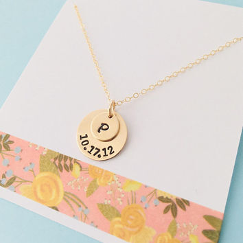 Personalized Mom Necklace, Initial Date Necklace, Mom Date Necklace, Gold Date Necklace, New Mom Necklace