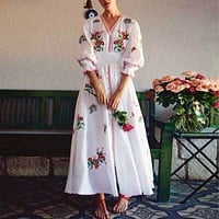 BOHO INSPIRED white floral embroidered Dress women V-neck 3/4 sleeve buttons down 2019 Spring Summer dress casual chic vestidos