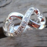 Infinity Hearts Silver Plated Zirconium Ring Size 6