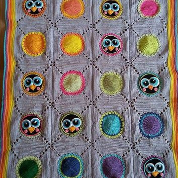 Crochet baby blanket with penguin motifs, granny square penguin blanket, colourful baby, baby penguin crochet, INSTANT DOWNLOAD PATTERN