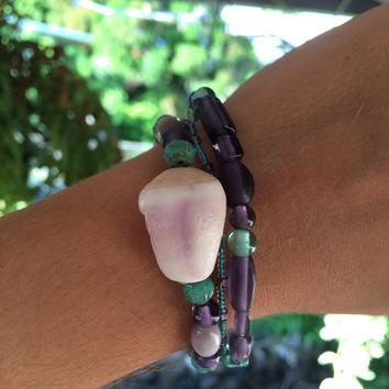 Layered Purple Turquoise Cone Shell Bracelets