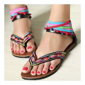 Flat Embriodered Sandals Beads Shoes