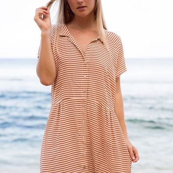 ACACIA Swimwear 2019 Lima Cotton Silk Dress in Apricot Stripe