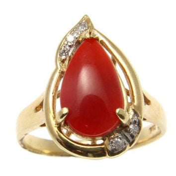 GENUINE NATURAL NOT ENHANCED PEAR SHAPE RED CORAL DIAMOND RING 14K YELLOW GOLD