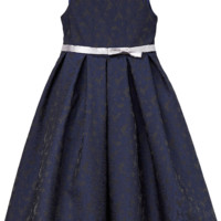 Girls Navy Blue & Silver Floral Jacquard Dress with Pleated Skirt 2T-12