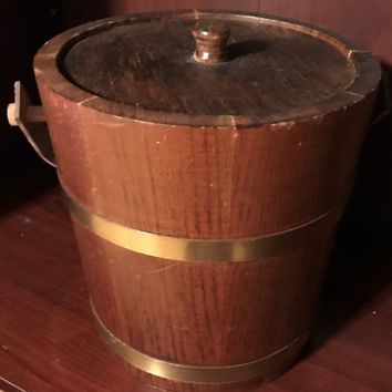 Ice Bucket with Handle and Lid Vintage Wooden Wood