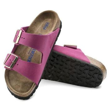 CREYNW6 Sale Birkenstock Arizona Soft Footbed Nubuck Leather Pink 1011257 Sandals