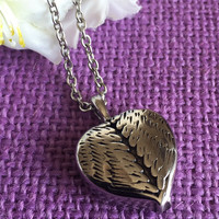 Urn Memorial Cremation Necklace - Cremation Urn Necklace - Heart - Angel Wings Memorial Jewelry - Remembrance Necklace - In Memory - Loss of