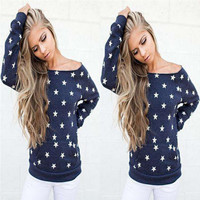 Blue Star Print Long Sleeve Off Shoulder Sweatshirt