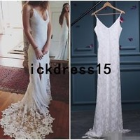 Simple Lace Split Wedding Beach Dress Spaghetti BOHO Bridal Gown Custom 8 10 12+