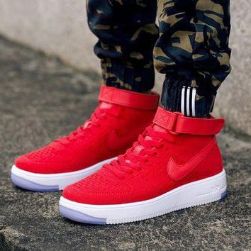ESBBE6 Nike Air Force 1 Flyknit Mid-High 817420-009 Red For Women Men Running Sport Casual Shoes Sneakers