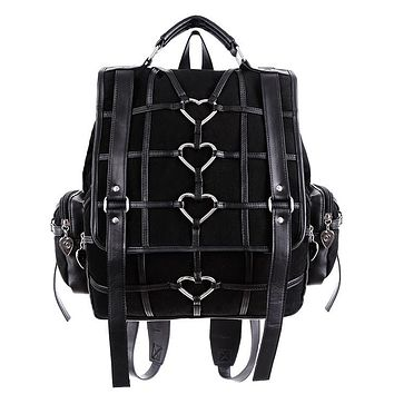 Heavy Heart Black Denim Bondage Harness with Heart Shaped keyrings Backpack