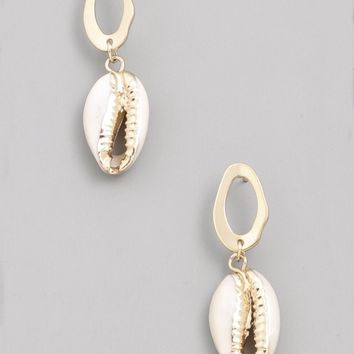 Cowrie Circle Drop Earring