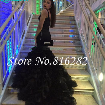 New Sexy African V Neck Black Mermaid Prom Dresses 2016 Backless Organza Chapel Train Ruffles Evening Party Dress For Graduation