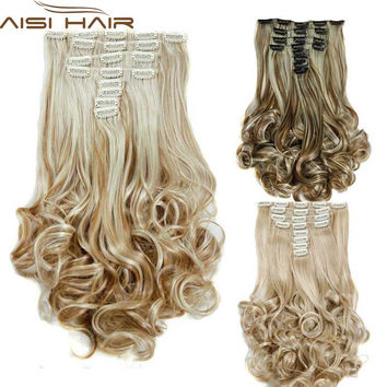 16Colors Clip in Hair Extensions 8pcs/set 22inch 55 cm Long Hairpiece Curly Wavy Heat Resistant Synthetic Natural Hair Extension