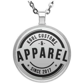 Kool Customs & Apparel Circle Necklace Silver Plated Pendant With Gloss Finish