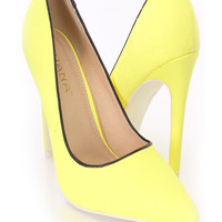 Yellow Snake Skin Textured Single Sole Pump Heels Faux Leather