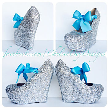Silver Glitter with Turquoise Bow Wedge High Heels