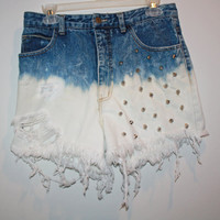 Ombre distressed studded shorts Size 7