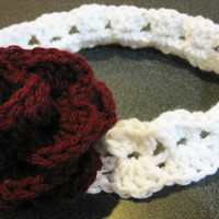 Crochet PATTERN Rose and Clusters Baby Headband by kickincrochet
