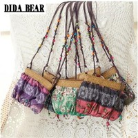 Boho Bohemia Exotic Floral Straw Weave Strap Cloth Small Crossbody Bag in multiple colors!