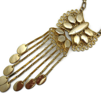 Vintage Tassel Necklace - Long Gold Boho, Fringe Necklace, Vintage Costume Jewelry 1970s