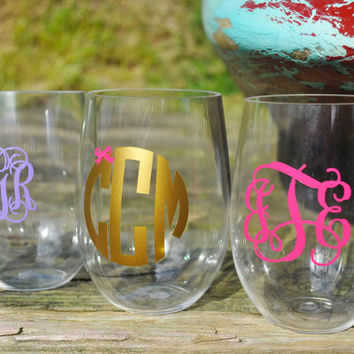 Personalized Acrylic Stemless Wine Glass - Monogram it or add Your Name