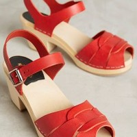 Swedish Hasbeens Peep-Toe Clogs in Red Size: