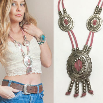 Pink Squash Blossom Style Leather Concho Necklace | Silver Beaded Western Conchos Genuine distressed Leather 80s Southwestern boho chic 70s