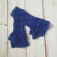Girl ruffle lace shabby leg warmers, lace leggings, baby, toddler, girl, blue, royal blue, blue, aqua, ruffle leg covers, child, rustic