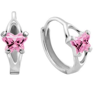10K White Gold October CZ Birthstone Youth Hoop Earrings by Bfly