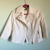 #RalphLauren #white cropped moto jacket in a cotton/nylon blend that ...