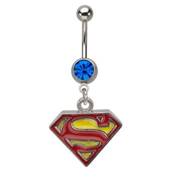 DC Comics Superman 316L Surgical Steel Dangle Belly Ring with Gem 14g 7/16