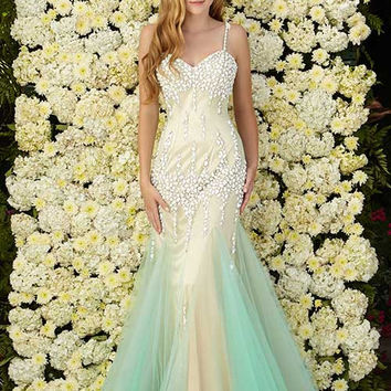 G2081 Jeweled Mermaid Prom Dress Pageant Evening Gown