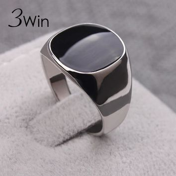 3Win Fashion Ring Men jewelry Classical Rings Aneis De Ouro Silver Color Vogue Black Enamel Wedding Skull Rings For Men Anillos