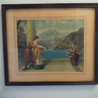 Vintage Romantic Roman Woman in Garden ~ Ethereal Framed print ~ Shabby Chic Cottage