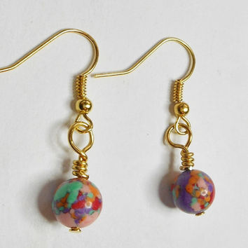 Red Multi Color Turquoise Gold Dangle Earrings